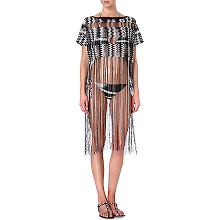 MISSONI Fringed crochet-knit cover-up (6350 black/white