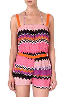MISSONI Crochet-knit zig-zag playsuit
