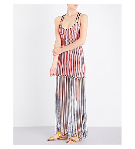 MISSONI Fringed knitted maxi dress (2021+grechina+tricolor