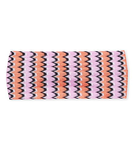 MISSONI Zigzag-patterned knitted headband (2021+multi
