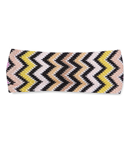 MISSONI Zigzag-patterned knitted headband (2030+multi