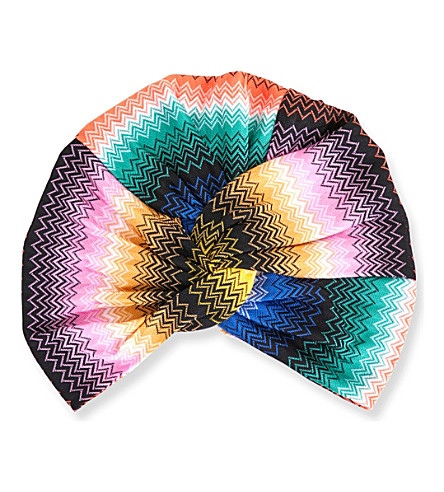 MISSONI Zigzag-patterned knitted turban (2070+multi