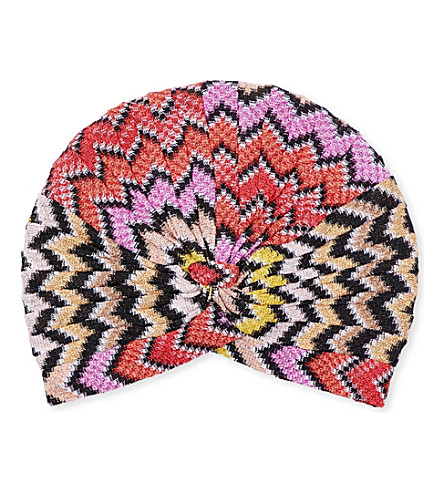 MISSONI Zigzag-patterned knitted turban (2030+multi