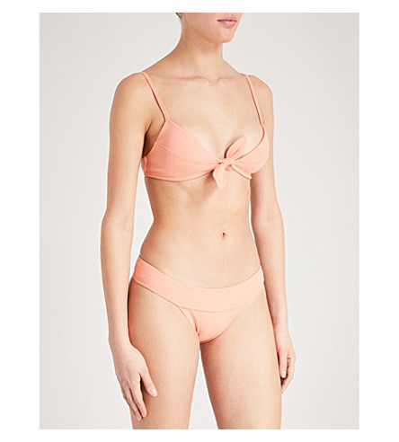 VIX Bouclé knot-detail bikini top (Peach
