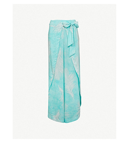 VIX Feather-print woven beach trousers (Turquoise