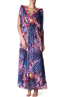 MATTHEW WILLIAMSON Palm jewel silk gown cover-up
