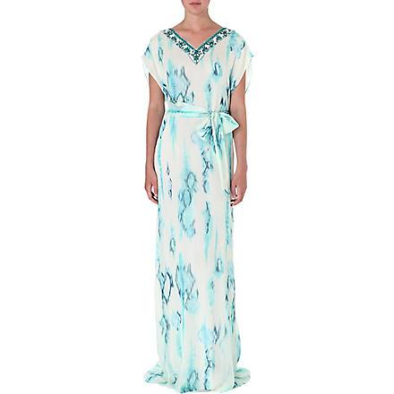 MATTHEW WILLIAMSON Tie-dye silk gown (Aquamarine