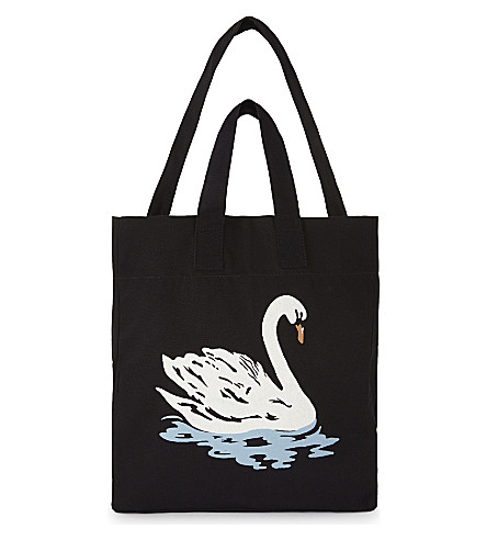 STELLA MCCARTNEY Large canvas swan beach bag (Black/white+swan+print