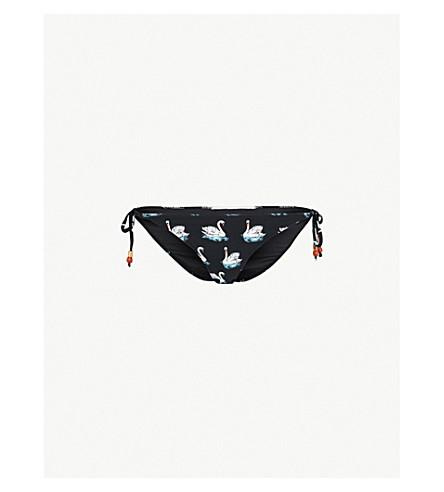 STELLA MCCARTNEY Iconic swan-print bikini bottoms (Black/white+swan+print