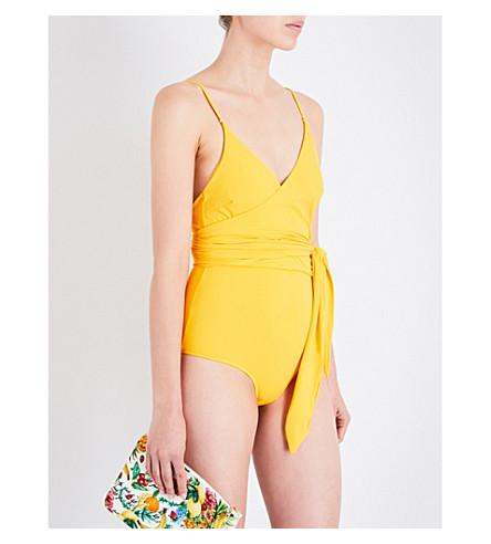 STELLA MCCARTNEY Timeless Basics wrap swimsuit (Spectra+yellow
