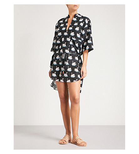 STELLA MCCARTNEY Iconic swan-print cotton and silk-blend shirt dress (Black/white+swan+print