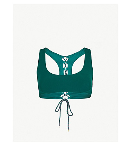 STELLA MCCARTNEY Lacing bikini top (Botanical+green