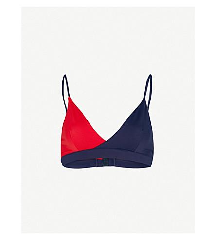 TOMMY HILFIGER Two-tone stretch bikini top (Navy+blazer+tango+red