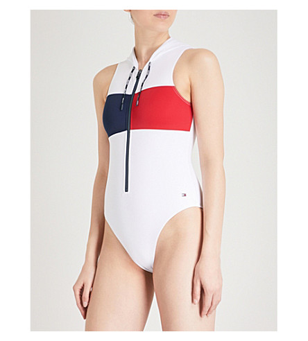 TOMMY HILFIGER Hooded swimsuit (Bright+white