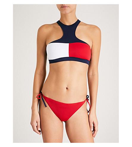TOMMY HILFIGER Colourblocked haltnereck bikini top (Navy+blazer+tango+red