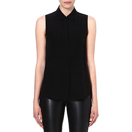 THEORY Silk sleeveless shirt (Black