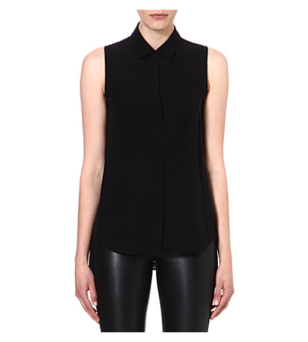 THEORY Silk sleeveless shirt (Black