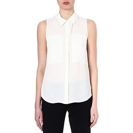 THEORY Silk sleeveless shirt (White