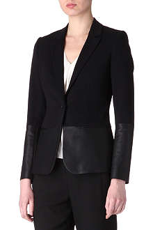 THEORY Leather-panel blazer