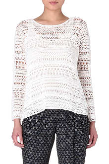 THEORY Amena crochet top