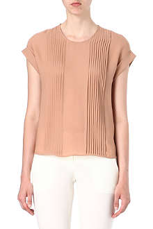 THEORY Pleated silk top