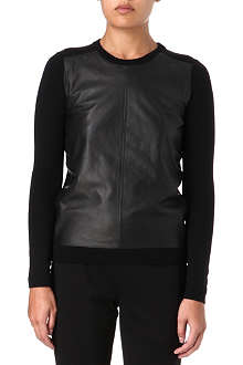 THEORY Yulia leather and wool top