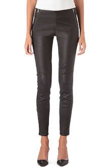 THEORY Leather zip-detail trousers