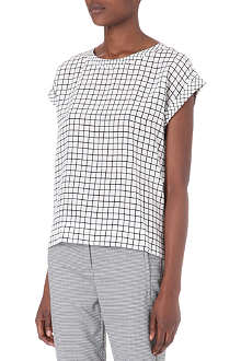 THEORY Grid-print silk top