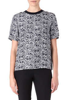 THEORY Klima print silk top