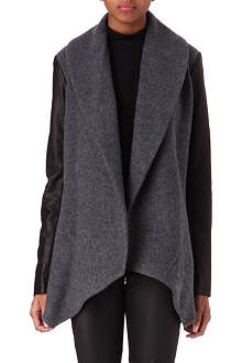 THEORY Laura leather-sleeve cardigan