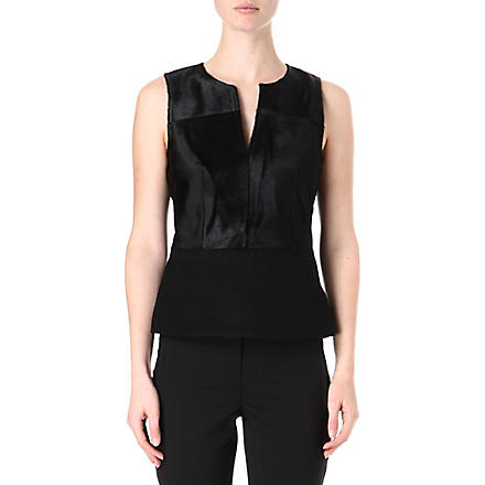 THEORY Sleeveless calf fur and wool-blend top (Black