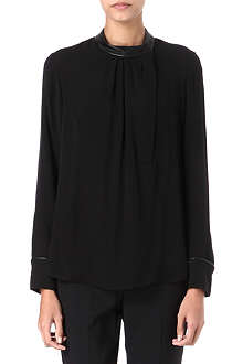THEORY Kyna leather-trim silk blouse