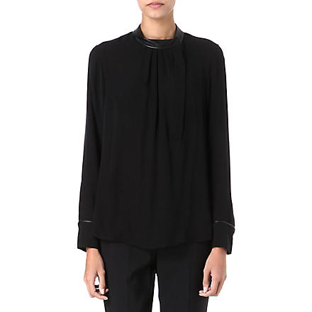 THEORY Kyna leather-trim silk blouse (Black