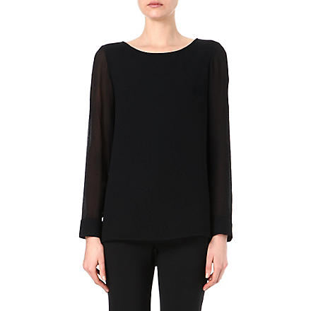THEORY Toska silk-sleeved top (Black