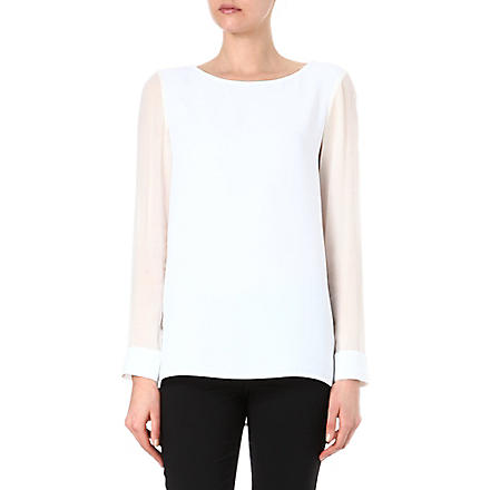 THEORY Toska silk-sleeved top (White