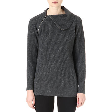 THEORY High neck knitted jumper (Carbon