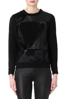 THEORY Calfskin and leather-panel sweatshirt