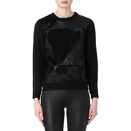 THEORY Calfskin and leather-panel sweatshirt (Black