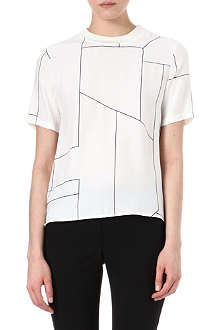THEORY Klima geometric-print silk top