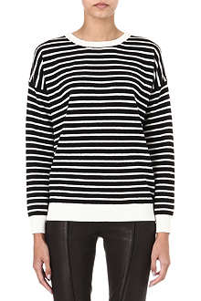 THEORY Andrista striped knitted jumper