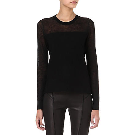 THEORY Ofenia sheer-panel jumper (Black
