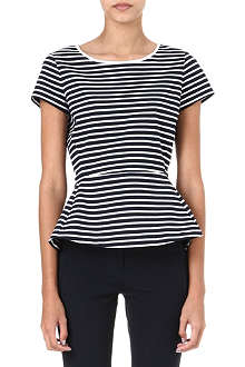 THEORY Panna stretch-jersey striped top