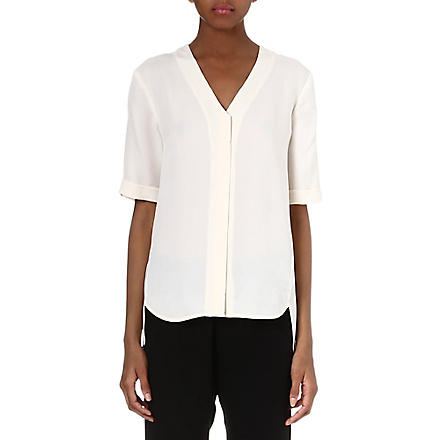 THEORY Silk v-neck top (Ivory