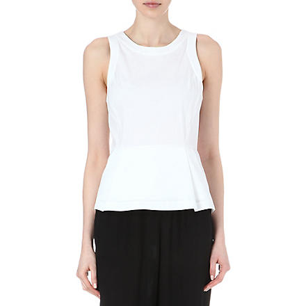 THEORY Ballise jersey peplum top (White