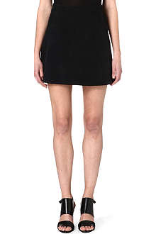 THEORY Perforated suede skirt