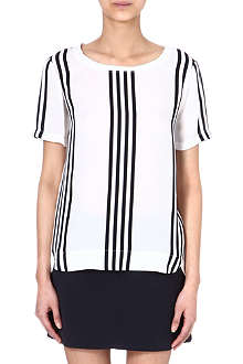 THEORY Silk stripe t-shirt