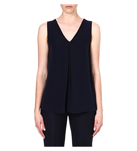 THEORY Pleat-detail silk top (Uniform