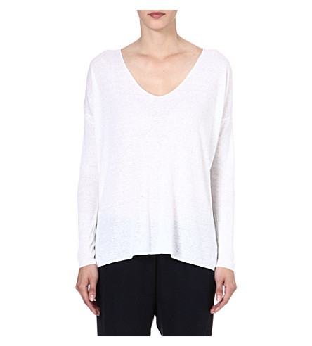 THEORY Larlissa linen-blend jumper (White