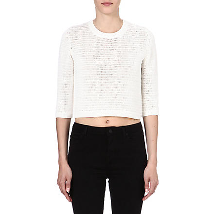 THEORY Harmonia Arabis cropped jumper (White