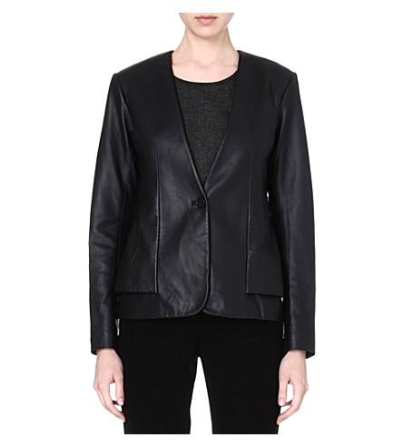 THEORY Easeful leather jacket (Black